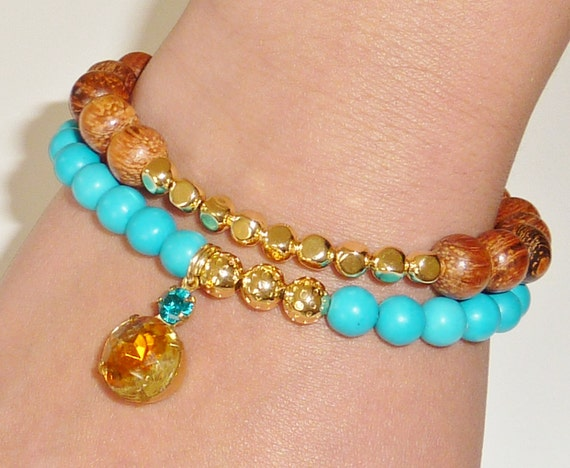 Bright Blue Chalk Turquoise Semiprecious Gemstone Beaded Bracelet with Vintage Faceted Light Topaz and Zircon Blue Glass Charm