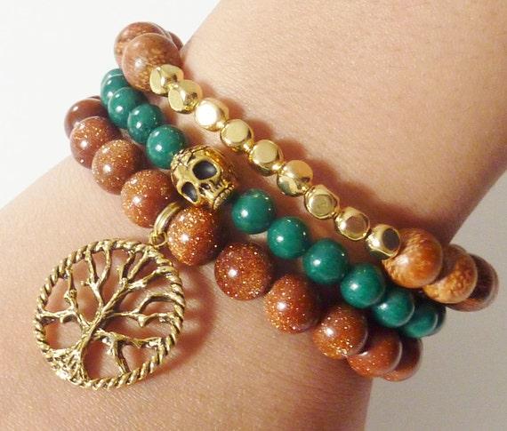 Dark Green Mountain Jade Semiprecious Gemstone Beaded Bracelet with Goldtone Skull Charm