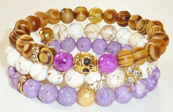 Wood Beaded Bracelet with Goldtone Skull and Grape Dyed Howlite Semiprecious Gemstones