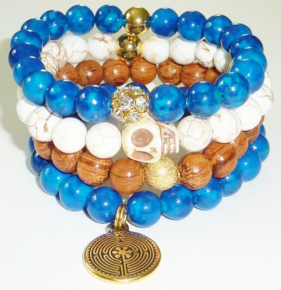 Bead Bracelet Set in South Sea Blue Riverstone with Skull, Rhinestone and Labyrinth Charm-Set of 4