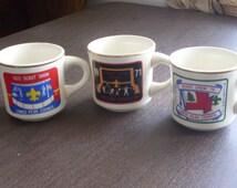Vintage Boy Scout Mugs 1970s Set of 3