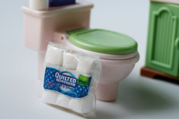 Miniature toilet paper, doll house accessories, tiny toilet paper.