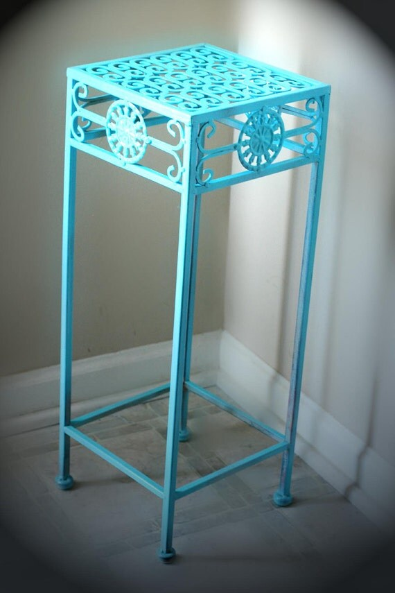 Teal Metal Side Table For Bathroom Corner Plant Stand Cute