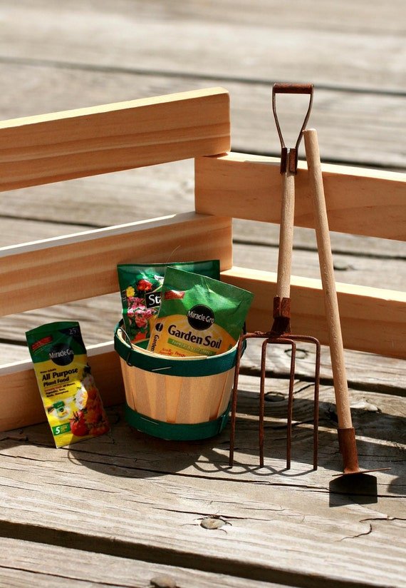 Miniature gardening tools, pitch fork and hoe, tiny, potting soil, garden tools, rustic, crafts