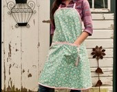 Blue Floral Full-Length Kitchen Apron