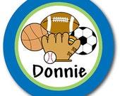Melamine Plate, Sports, Personalized, Boys, Baseball, Basketball, Soccer