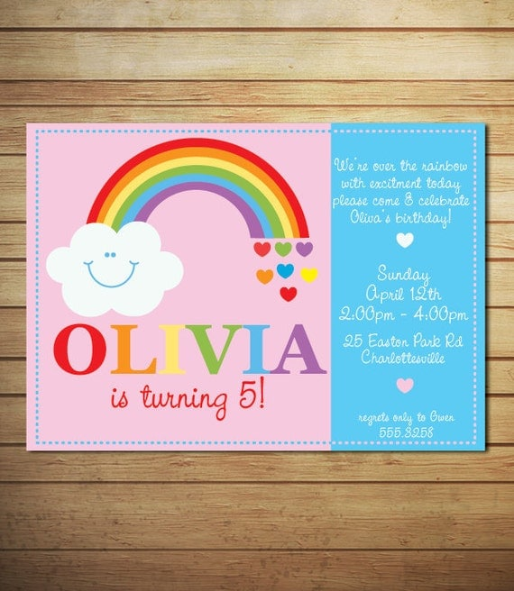 DIY Printable Personalized Rainbow Birthday Invitation 301 Moved Permanently
