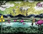 Gasmask Flamingo Industrial Swamp Print : trippy surreal