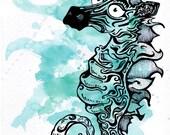 ZeHorse Seabra Zebra Seahorse hybrid print : trippy surreal