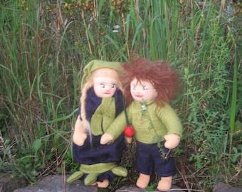 Siblings dolls, boy and girl, felt dolls, Waldorfart