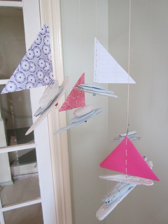 Beautiful boat mobile made from painted driftwood