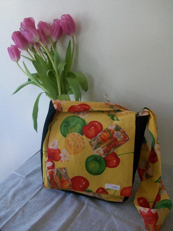 Messenger Shoulder Bag, Tote Purse, Yelllow Vintage Fabric