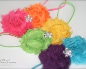 """Bright & Neon - Chiffon Rosette - """"I Can See Clearly Now"""" - Headband Collection - Girls Newborn Infant Baby Toddler Child Adult"""