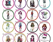 Monster High photo Edible cookie cupcake tops birthday party decoration