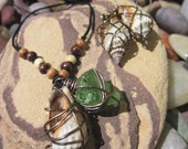 Shells and Green Sea Glass Necklace and Earrings Set