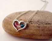 Open Heart Family Birthstone Necklace Sterling Silver & Swarovski Crystal Mothers Grandmothers Daughters Sisters Couples 2, 3, 4 or 5 stones