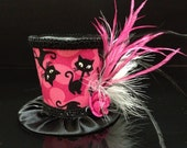 Adorable Pink and Black Mini Top Hat with Sparkly Cat Pattern for Birthday, Tea Party or Photo Prop