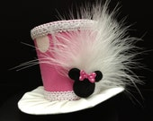 Adorable Pink Minnie Mouse Mini Top Hat for Birthday, Tea Party or Photo Prop