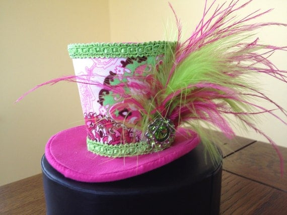 Pink and Green Paisley Mini Top Hat. Great for Birthday Parties, Tea Parties, Photo Prop, and Much More...