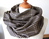 Unisex infinity scarf loop circle black with beige houndstooth,  Prince of Wales check linen eternity,  winter fashion
