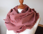 Unisex infinity scarf loop circle red and gray check wool blend fringed eternity  last scarf of fabric fall autumn winter