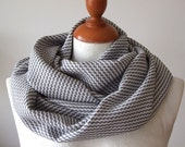 Unisex infinity scarf  grey and white diagonal zigzag, loop circle wool blend eternity, dream of fall autumn winter