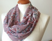 Infinity scarf loop floral circle - carnations on mauve - Mother's day gift under 20 dollars - pastel spring flowers - spring summer scarf