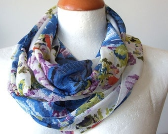 Feminine floral Infinity scarf wrinkled chiffon Royal blue roses loop circle, Mother's Day gift under 20 dollars, spring fashion