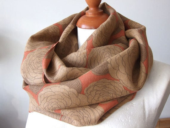 Organic linen floral loop infinity circle scarf coral with caramel roses eco natural linen spring collection last scarf in this fabric