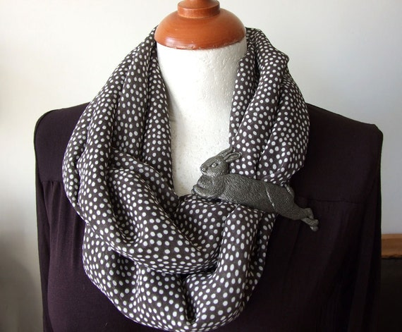 Small Polka Dots Loop Circle Scarf Infinity white dots on slate classic fall fashion, gift under 20 dollars