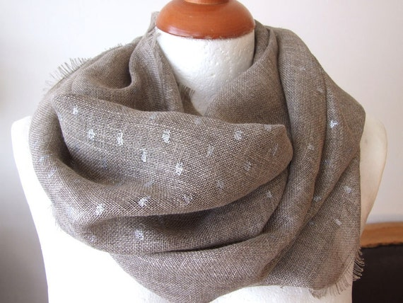 Organic soft linen with silver speckles unisex fringed loop scarf infinity circle, eco natural linen spring summer collection