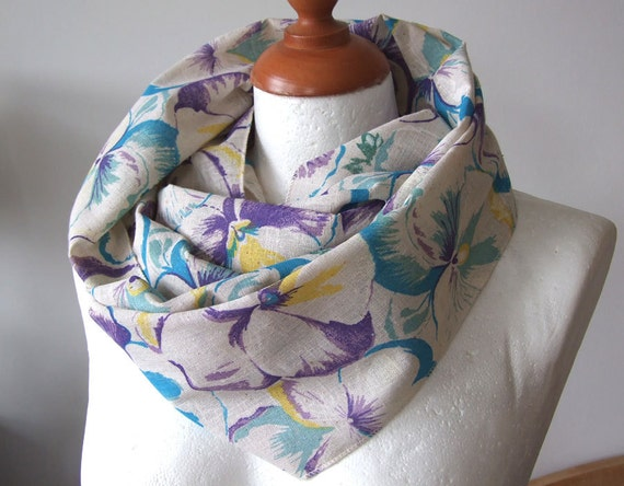 Organic linen  infinity circle scarf floral painted pansies in turquise purple and cream eco natural spring fashion Mother's Day, Last scarf