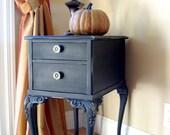 Romantic little side table - Vintage, black, hand distressed