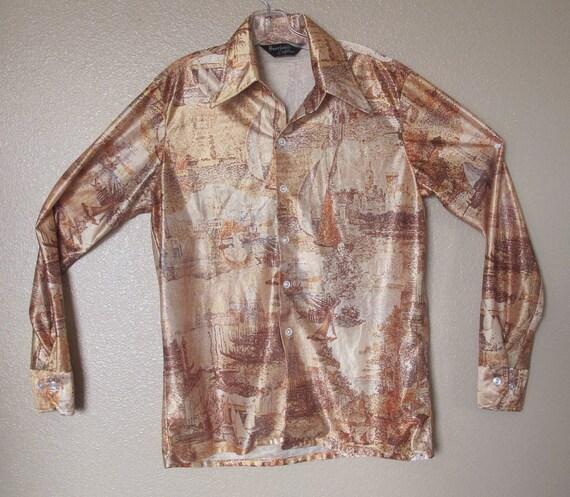 1970's Men's BOOGIE NIGHTS INSPIRED Nautical Rocker Shirt Size Large
