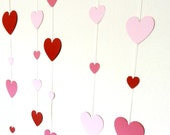 Hearts in Pinks and Red - Bunting - 5 Vertical Garlands