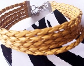 Boho Style Braided Leather Cuff In A Natural Tan (Adjustable)