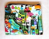 Anime Zippered Pouch Cosmetic Bag Makeup Bag Kawaii Japanese Anime Cotton Fabric Sage In Stock