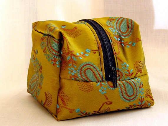Cosmetic Pouch Zippered Makeup Bag Jewelry Bag Gloden Green Paisley Design Satin Fabric In Stock