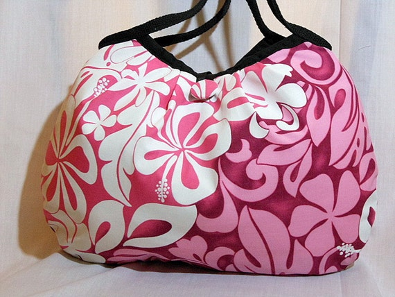 Hawaiian Fabric Hobo Bag Floral Bag Handbag Purse Hawaiian Floral Fabric Pink White Medium Bag In Stock