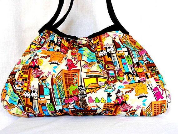 Anime Japanese Bag Purse Hobo Handbag Kawaii Japanese Anime Cotton Fabric Tokyo Brown In Stock