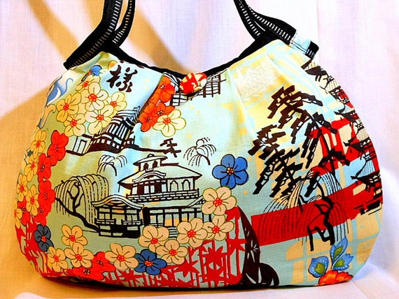 Japanese Bag Purse Hobo Bag Handbag Japanese Print Cotton fabric Kyoto Style Medium size Beige and Light Blue - In Stock