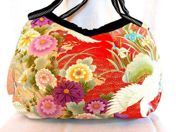 Kimono Bag Japanese Purse Hobo Bag Handbag Japanese Kimono Cotton Floral fabric Iris Peony Crane Red Gold Pink Medium Bag In Stock