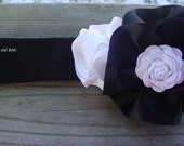 Black and White  Satin Blossom with a Rick Rack Rosettes Flower --A Posh Twist on Headbands For a Little Princess--