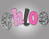 """Wooden letters 8""""Pink and Black  - listing is for 5 letters See other wooden letters photos in Hot pink & black"""