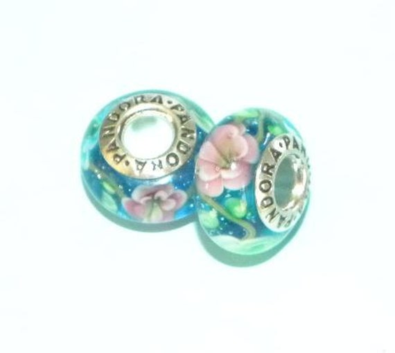 European Style 2 Matching Lampwork Handmade Murano Glass Bead Sterling Silver Core fits DIY European Bracelets b2