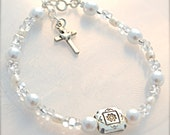Confirmation Bracelet Sterling Silver White Fresh Water and White Glass Pearl Holy Spirit Cross