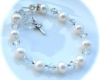 Rosary Bracelet Sterling Silver White Fresh Water Pearl & Holy Spirit Cross