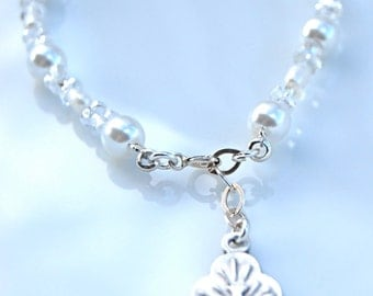 Catholic Holy Spirit Charm Sterling Silver White Fresh Water and White Glass Pearl Bracelet