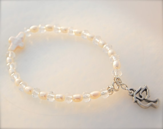 Christian Holy Spirit Sterling Silver White Fresh Water Pearl and Czech Glass  Bracelet