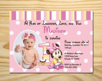 Printable Minnie Mouse First Birthday Invitation